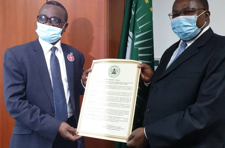 Photo News:H.E. Ambassador Richards Adejola Deposited the Instrument of Ratification of the Agreement Establishing the AfCFTA with the AU's legal depository on behalf of the Government of Nigeria, today 5 December, 2020.