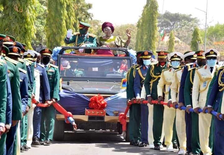 DHQ Holds Pull-Out Parade In Honour Of Immediate Past CDS General Olonisakin.