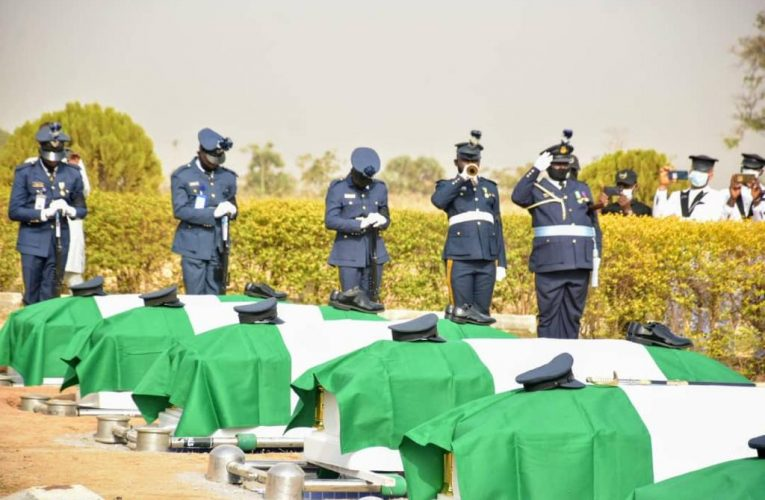NAF Lays To Rest Remains Of Flight Lieutenant Haruna Gadzama, 6 Others At National Military Cemetery Abuja.